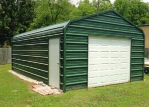 14 x 24 storage building with 9 x 7 garage door and side walk door.